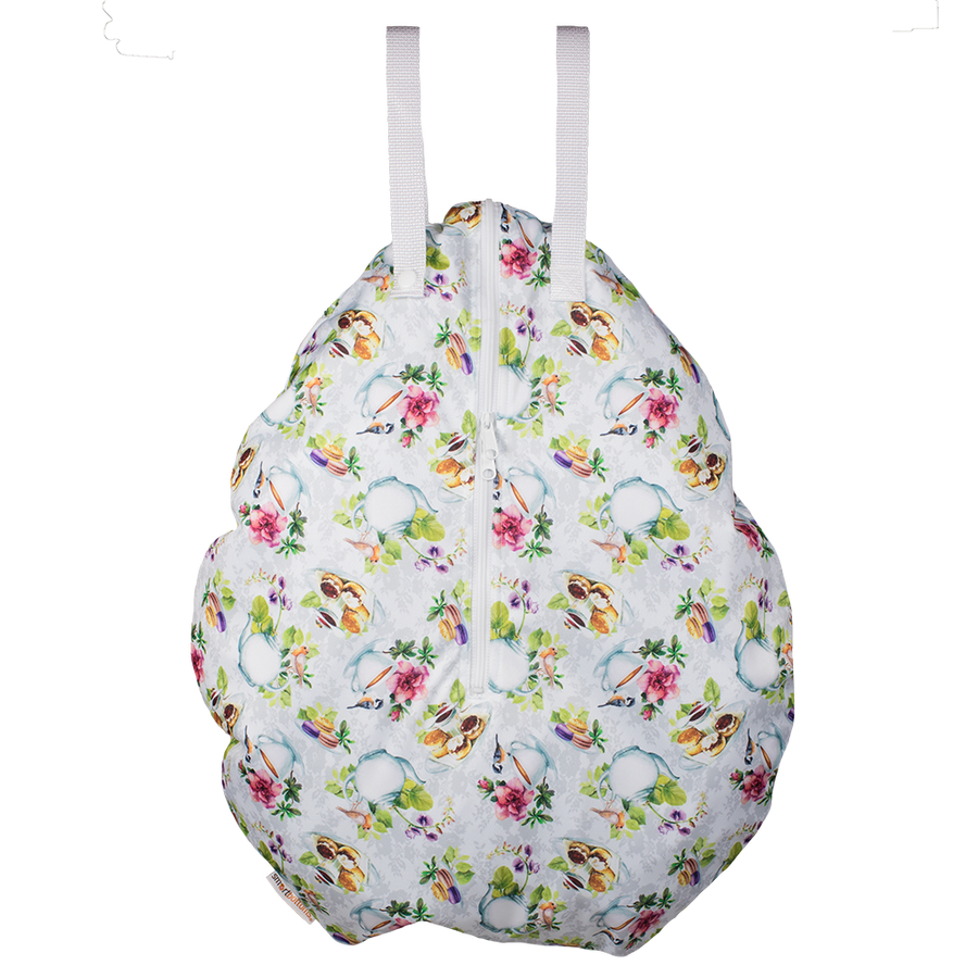 Smart Bottoms - hanging wet bag - Tea Party - English tea time print cloth diaper bag - waterproof cloth diaper bag