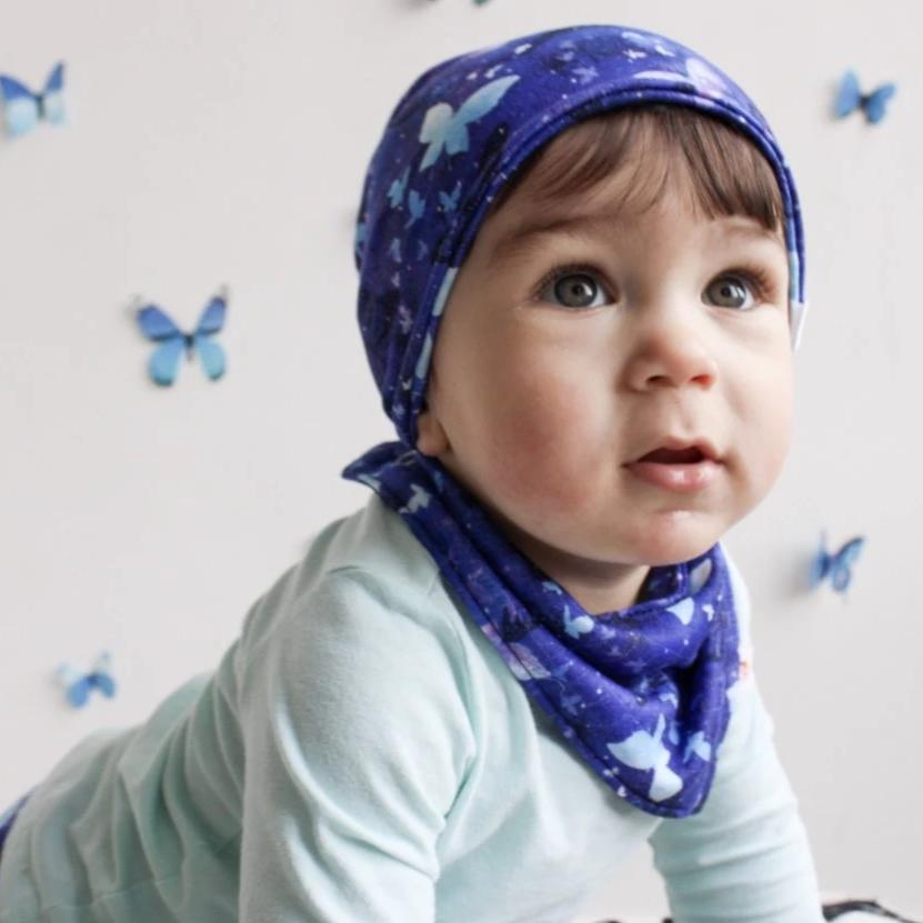 Smart Bottoms - bandana bib - Little Wings - blue butterflies drool bib for toddlers and babies