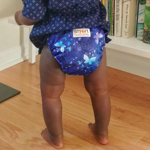 Smart Bottoms - Smart One cloth diaper - Little Wings - blue butterflies cotton cloth diaper