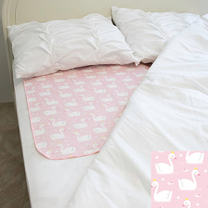 Mattress Pad - Swan Princess - smart bottoms - Pink swan mattress pad - absorbent mattress pad protector