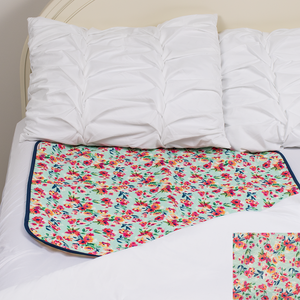 Mattress Pad - Aqua Floral - smart bottoms - super absorbent mattress pad - potty training mattress pad