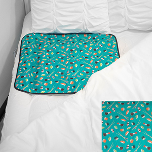 Smart Bottoms - mattress pad - You're My Soymate print - absorbent mattress pad protector - waterproof mattress pad - teal green with sushi print mattress pad protector - potty training mattress pad