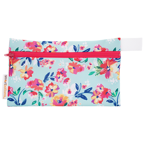 smart bottoms - mini wet bag - Aqua Floral - floral print bag - waterproof bag
