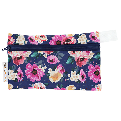 Smart Bottoms - Mini Wet Bag - Petit Bouquet Print - waterproof bag - Blue and purple floral print bag