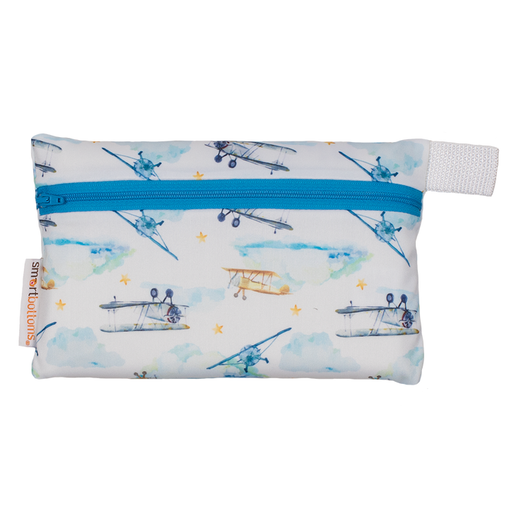 Smart Bottoms - Mini Wet Bag - First Flight Print - waterproof bag - Vintage airplane print