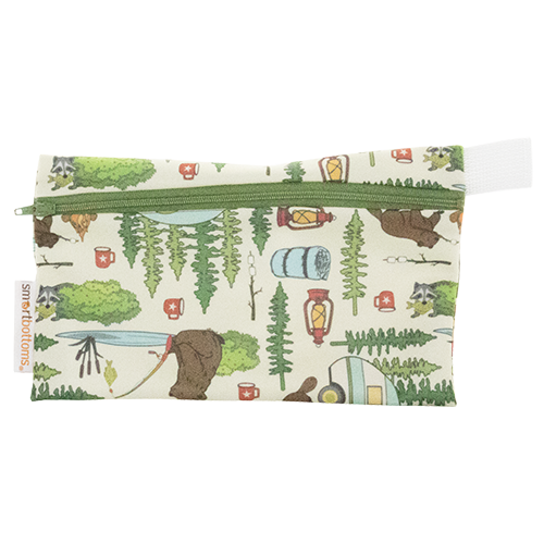 smart bottoms - mini wet bag - Campfire Tails - Animal camping print bag - waterproof bag