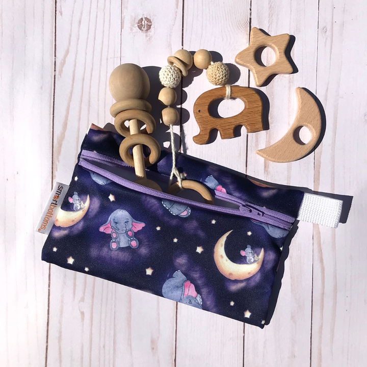 Smart Bottoms - Mini Wet Bag - Baby of Mine Print - Reusable waterproof bag -  Cute elephants and mouse and moon print bag