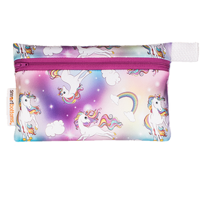smart bottoms - mini wet bag - Chasing Rainbows - Unicorns and rainbows print bag - waterproof bag