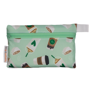 Smart Bottoms - Mini Wet Bag - Daily Grind - Waterproof coffee print zipper bag