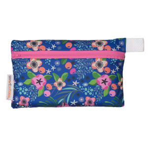 Smart Bottoms - Mini Wet Bag - Isla Flor Print - waterproof bag - blue with pink flowers tropical floral waterproof bag