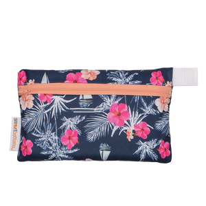 Smart Bottoms - Mini Wet Bag - Paradise Print - waterproof bag - tropical blue and pink flowers bag