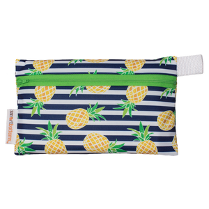 Smart Bottoms - Mini Wet Bag - Pina Colada Print - waterproof cloth diaper bag -  Pineapples with blue and white stripes cloth diaperbag
