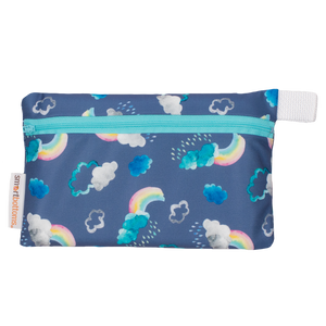 Smart Bottoms - Mini Wet Bag - Over the Rainbow Print - waterproof bag - blue bag with clouds and rainbows bag