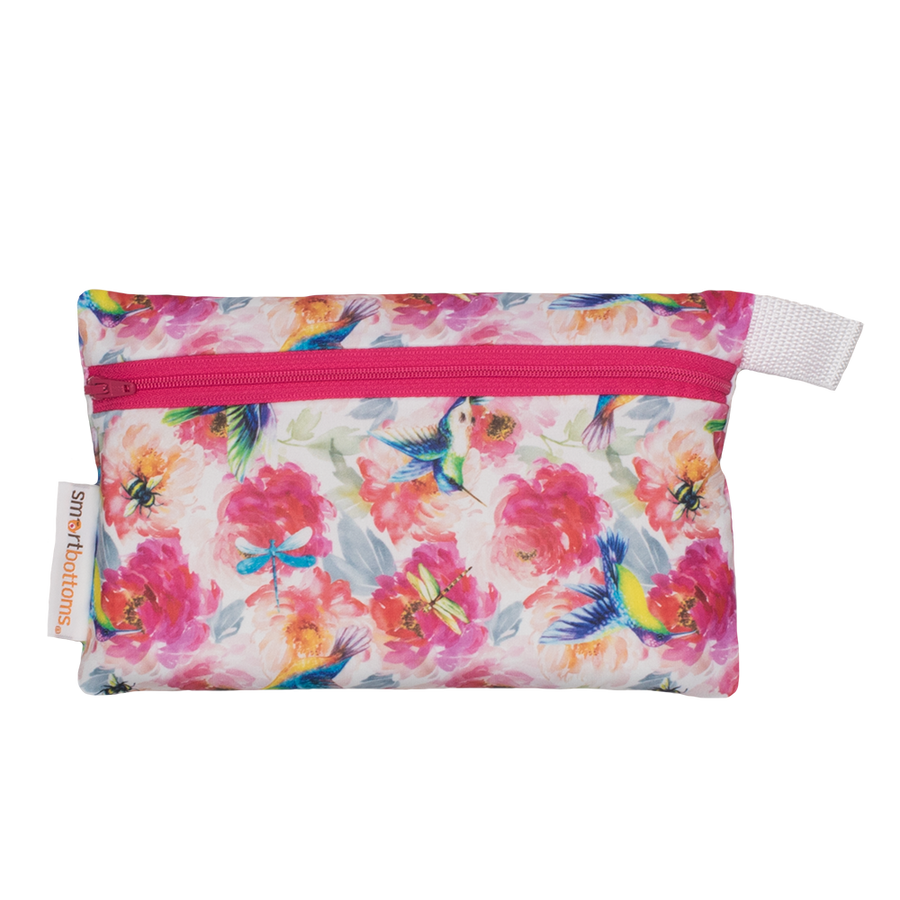 Smart Bottoms - Mini Wet Bag - Shimmer hummingbird and pink floral waterproof cloth diaper bag