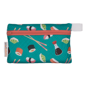 Smart Bottoms - Mini Wet Bag - You're My Soymate Print - Reusable waterproof bag -  Teal with sushi print bag