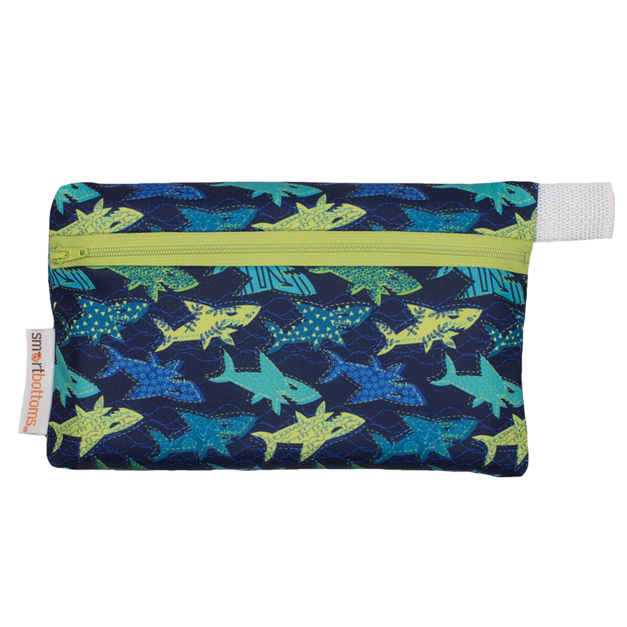 Smart Bottoms - Mini Wet Bag - Swim Faster sharks Print - waterproof bag - blue waterproof bag with blue and yellow sharks