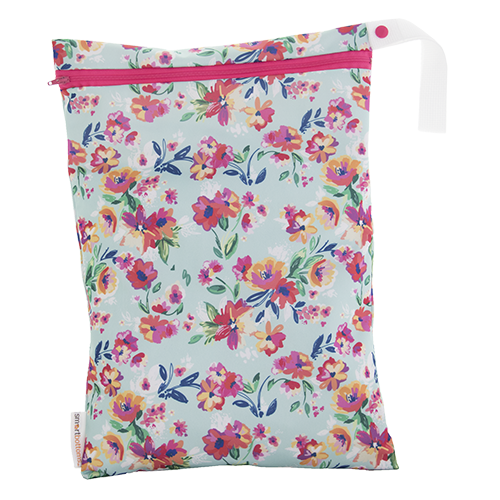 Smart Bottoms - On the Go wet bag - Aqua Floral - waterproof cloth diaper bag