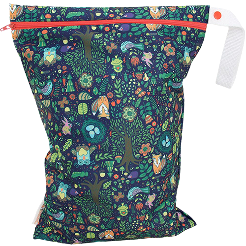 Smart Bottoms - On the Go wet bag - Enchanted - waterproof cloth diaper bag - enchanted forest print bag