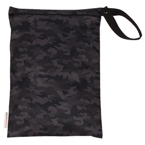 Smart Bottoms - On the Go wet bag - Incognito - waterproof cloth diaper bag - black camouflage print bag