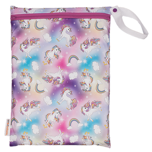 Smart Bottoms - On the Go wet bag - Chasing Rainbows - waterproof cloth diaper bag - Rainbows and unicorns print bag