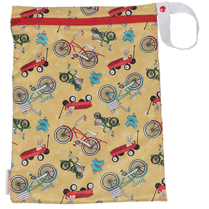 Smart Bottoms - On the Go wet bag - How We Roll - waterproof cloth diaper bag - Vintage yellow bikes wagons and roller skates print bag