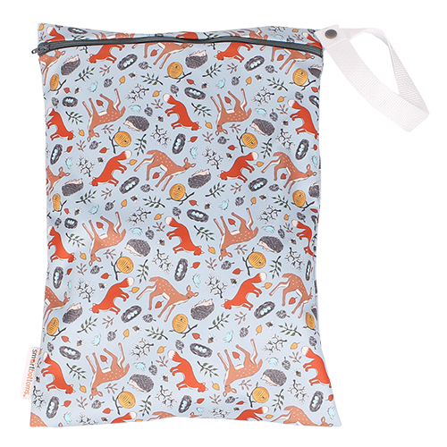 Smart Bottoms - On the Go wet bag - Forest Friends - waterproof cloth diaper bag - cute woodland animals print bag