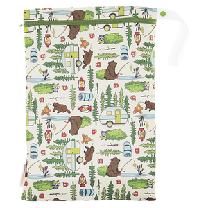 Smart Bottoms - On the Go wet bag - Campfire Tails - waterproof cloth diaper bag - Cute woodland animal print
