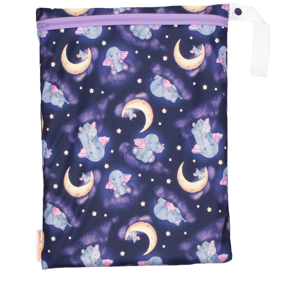 Smart Bottoms - On the Go wet bag - Baby of Mine print - waterproof cloth diaper bag - elephant and moon and mouse print bag