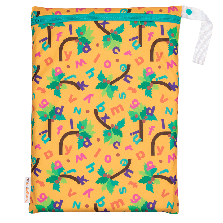 Smart Bottoms - On the Go Wet bag - Chicka Chicka Boom Boom - yellow waterproof bag with alphabet letters