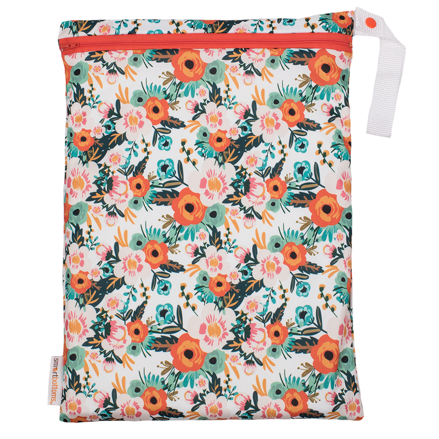 Smart Bottoms - On the Go Wet Bag - Ginny Print - waterproof cloth diaper bag - Orange poppy floral print bag