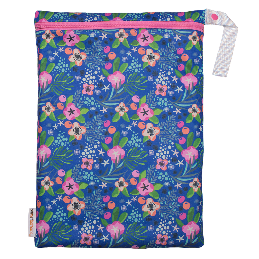 Smart Bottoms - On the Go wet bag - Isla Flor - waterproof cloth diaper bag - Blue with tropical pink flowers waterproof print bag