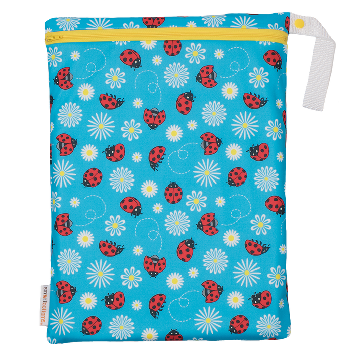 Smart Bottoms - On the Go Wet Bag - Little Ladybugs Print - waterproof cloth diaper bag - Blue with red ladybugs print waterproof cloth diaper bag