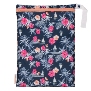 Smart Bottoms - On the Go wet bag - Paradise - waterproof cloth diaper bag - Blue with tropical pink flowers waterproof print bag