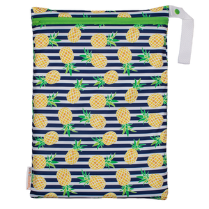 Smart Bottoms - On the Go wet bag - Pina Colada - waterproof cloth diaper bag - Pineapples with blue and white stripes waterproof cloth diaper  bag