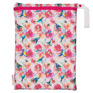 Smart Bottoms - On the Go Wet Bag - Shimmer hummingbird and pink floral waterproof cloth diaper bag
