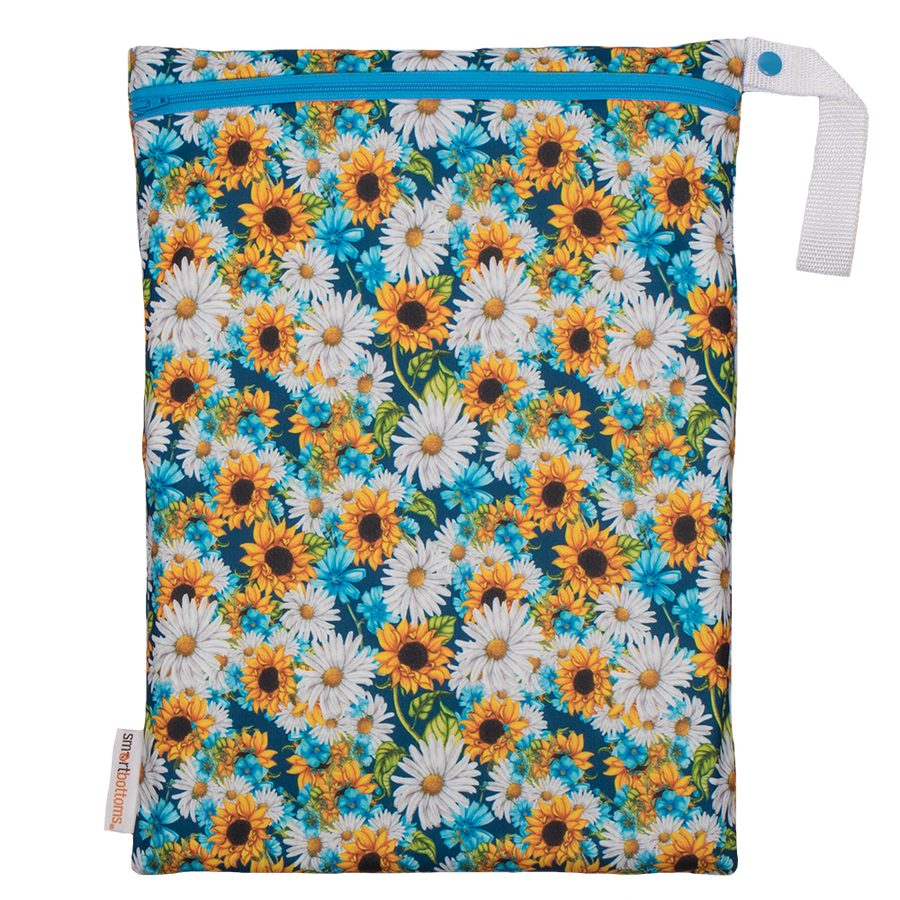 Smart Bottoms - On the Go Wet Bag - Hello Sunshine Print - waterproof cloth diaper bag - sunflower print bag
