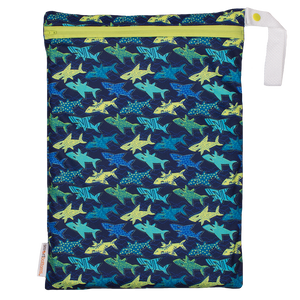 Smart Bottoms - On the Go wet bag - Swim Faster - waterproof cloth diaper bag - Blue and yellow sharks print waterproof bag