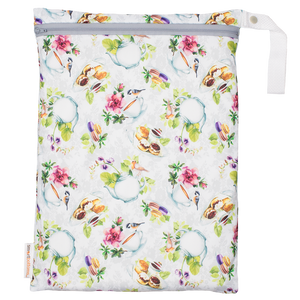 Smart Bottoms - on the go Wet Bag - Tea Party Print - waterproof bag - English tea time print waterproof cloth diaper bag