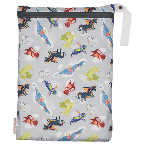 Smart Bottoms - Small Wet Bag - Dragon Dreams print - cute dragons print waterproof cloth diaper bag