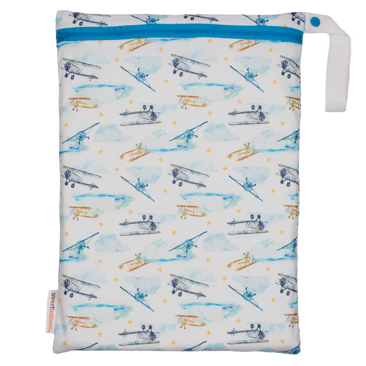 Smart Bottoms - On the Go Wet Bag - First Flight print - Vintage airplane print cloth diaper storage bag - reusable and washable bag