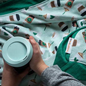 Smart Bottoms - Cuddle Blanket - Daily Grind - Green coffee print blanket