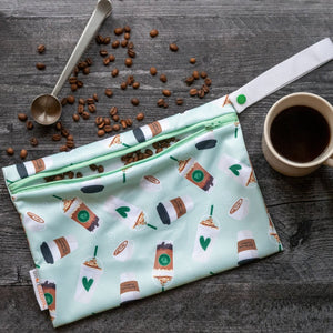 Smart Bottoms - Small Wet Bag - Daily Grind - Green coffee print waterproof bag