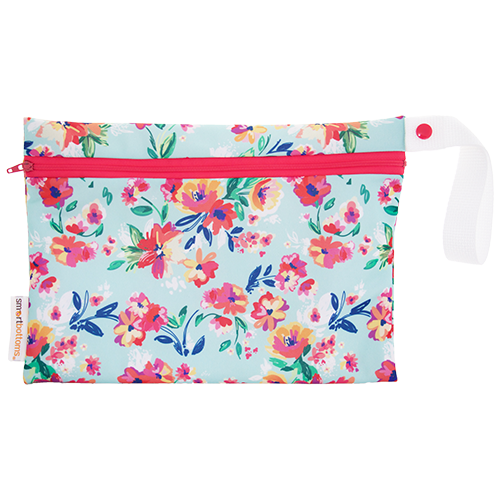 Smart Bottoms - Small Wet Bag - Aqua Floral print - cute floral print waterproof cloth diaper bag