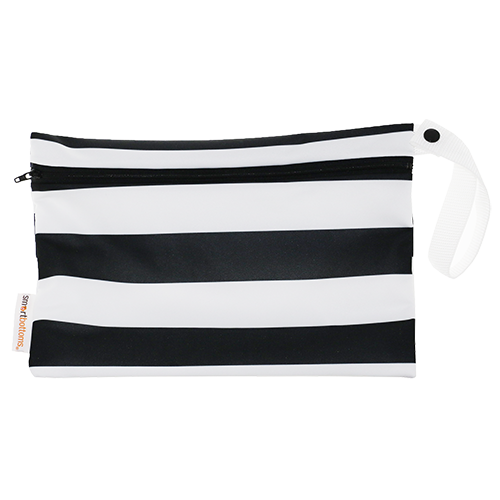 Smart Bottoms - Small Wet Bag - Manhattan print - black and white stripe print waterproof cloth diaper bag
