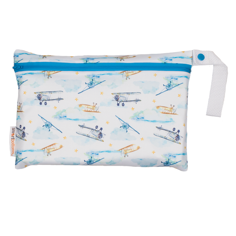 Smart Bottoms - Small Wet Bag - First Flight print - Vintage airplane print cloth diaper storage bag - reusable and washable bag