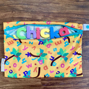 Smart Bottoms - Mesh Bag - Chicka Chicka Boom Boom - yellow diaper bag with alphabet letters