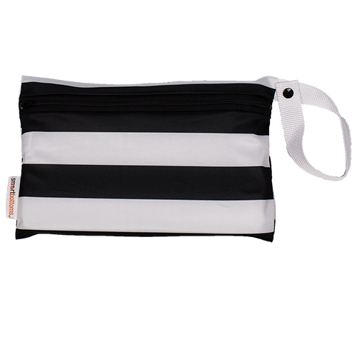 smart bottoms - mesh small bag - Manhattan print - black and white stripe washable and reusable mesh bag