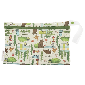 Smart Bottoms - Small Wet Bag - Campfire Tails print - cute outdoor animal print waterproof cloth diaper bag