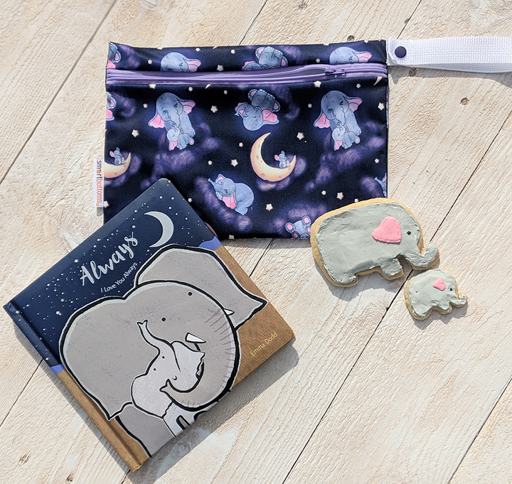 Smart Bottoms - Small Wet Bag - Baby of Mine print - cute elephant with moon and mouse print waterproof cloth diaper bag