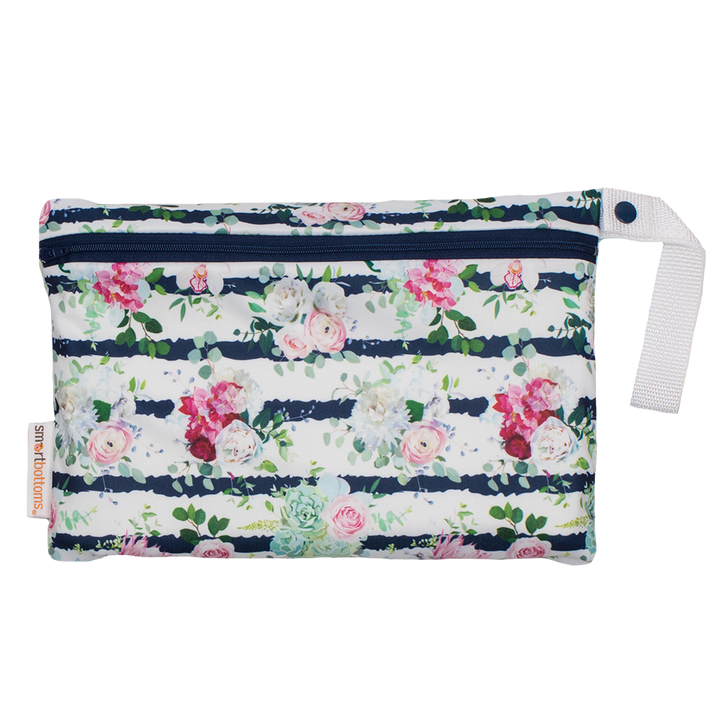 Smart Bottoms - Small Wet Bag - Belle Blossom print - floral stripe print waterproof cloth diaper bag